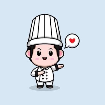 Śliczny mężczyzna kucharz pocierający z miłością kreskówka maskotka ilustracja