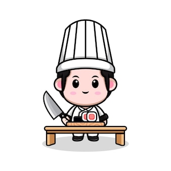 Śliczny mężczyzna kucharz robi sushi kreskówka maskotka ilustracja