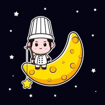 Śliczny mężczyzna kucharz siedzi na księżycu i łapie gwiazdę kreskówka maskotka ilustracja