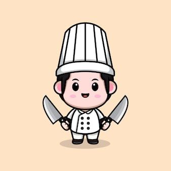 Śliczny mężczyzna kucharz trzyma nóż kreskówka maskotka ilustracja