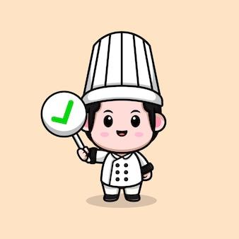 Śliczny mężczyzna kucharz trzyma poprawny znak kreskówka maskotka ilustracja