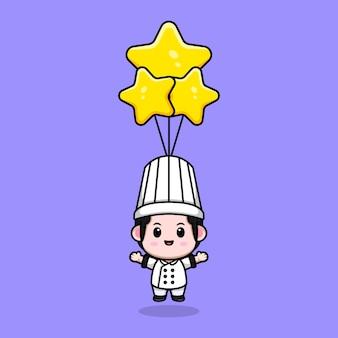 Śliczny mężczyzna kucharz unoszący się z gwiazdą balonową maskotką kreskówka