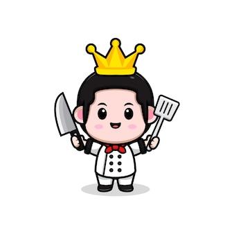 Śliczny mężczyzna kucharz z królową koroną kreskówka maskotka ilustracja