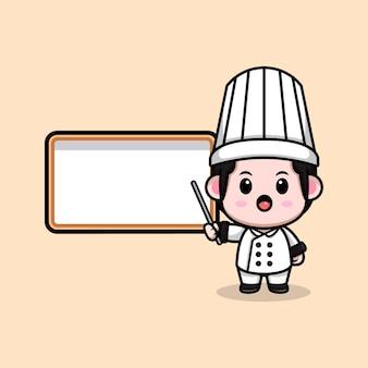 Śliczny mężczyzna kucharz z pustą białą tablicą kreskówka maskotka ilustracja