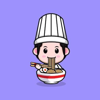 Śliczny mężczyzna szef kuchni jedzący makaron ramen kreskówka maskotka ilustracja