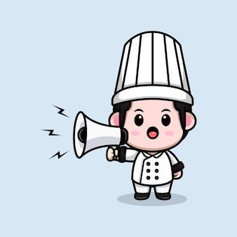 Śliczny mężczyzna szef kuchni mówiący na ilustracji maskotki z kreskówki megafon