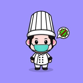 Śliczny mężczyzna szef kuchni noszący maskę do zapobiegania wirusowi maskotka ilustracja kreskówka