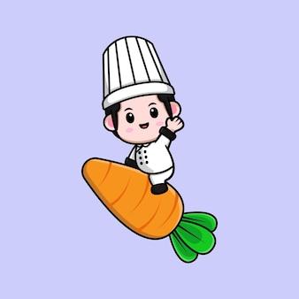 Śliczny mężczyzna szef kuchni siedzi na marchewce i macha ręką maskotka ilustracja kreskówka