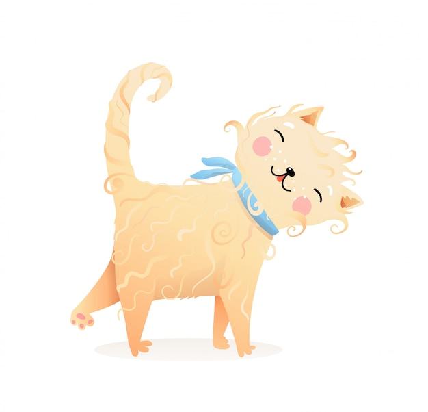 Śliczny miękki mruczący kot lub kotek kreskówka dla dzieci
