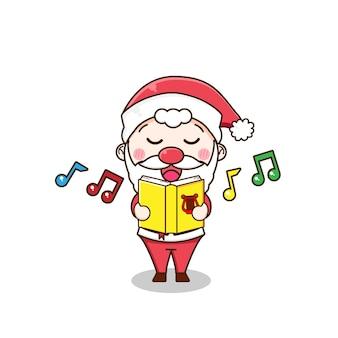 Śliczny mikołaj śpiewa piosenkę
