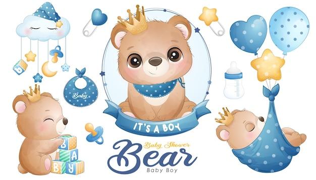 Śliczny miś baby shower z zestawem ilustracji akwareli