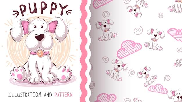 Śliczny miś pies - bezszwowy wzór