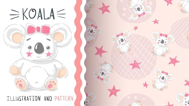 Śliczny miś pluszowy koala - bezszwowy wzór