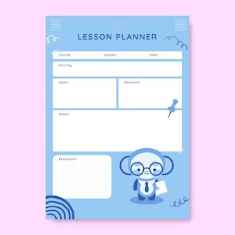 Śliczny monokolorowy plan lekcji dla nauczycieli
