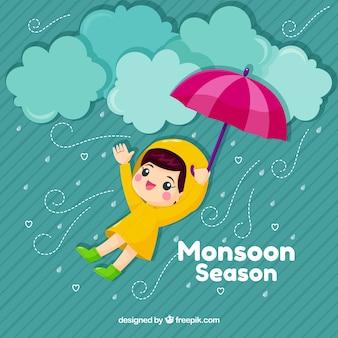 Śliczny monsunu tło z dzieciakiem i parasolem