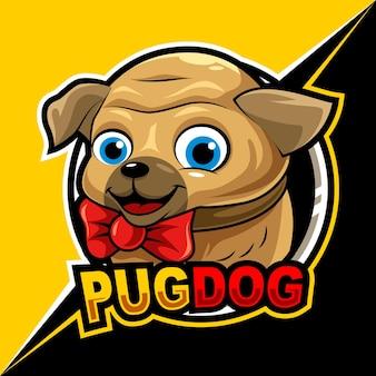 Śliczny mops pies, ilustracja wektorowa logo e-sportu maskotki do gier i streamera