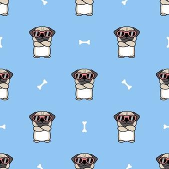 Śliczny mops pies z okularami przeciwsłonecznymi skrzyżowanymi ramionami kreskówka wzór