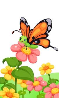 Śliczny motyl na kolorowych kwiatach