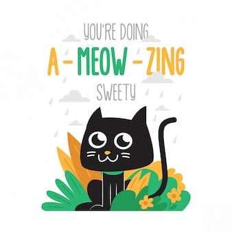 Śliczny motywacyjny kot plakat