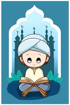 Śliczny muzułmański chłopiec czytający koran w ramadan kareem ilustracja kreskówka