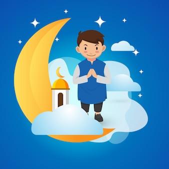 Śliczny muzułmański chłopiec wita salama witamy ramadhan