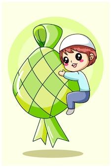 Śliczny muzułmański chłopiec z ilustracją kreskówka jedzenie ramadan