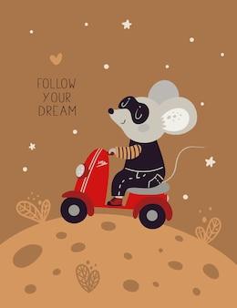 Śliczny myszy myszy szczur jedzie motocykl na serowym księżycu. symbol nowego roku 2020