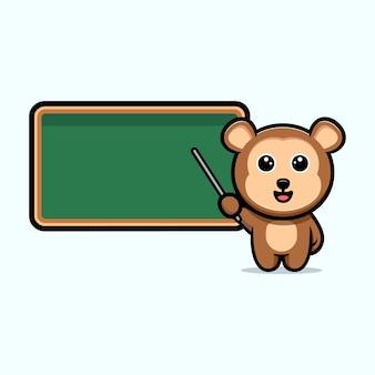 Śliczny nauczyciel małpy z maskotką kreskówka pustą tablicę