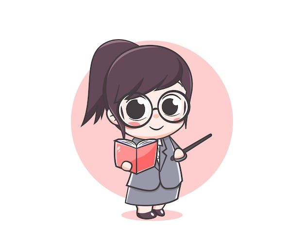 Śliczny nauczyciel trzyma ilustrację kreskówki książki