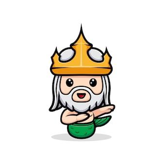 Śliczny neptun dabbingujący ze szczęśliwym uczuciem, maskotka króla oceanu
