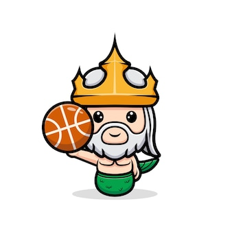 Śliczny neptun grający w koszykówkę, maskotka króla oceanu