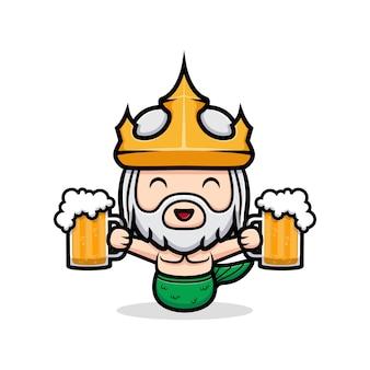 Śliczny neptun trzymający piwo, maskotka króla oceanu