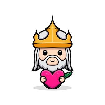 Śliczny neptun trzymający różowe serce, maskotka króla oceanu