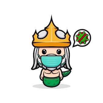 Śliczny neptun w masce w celu zapobiegania wirusowi, maskotka króla oceanu