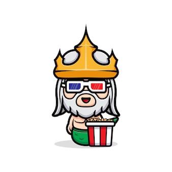 Śliczny neptun w okularach filmowych i jedzący popcorn, maskotka króla oceanu