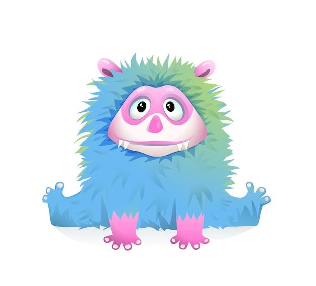 Śliczny niebieski puszysty mały potwór dla dzieci, fantastyczna figlarna postać dla dzieci