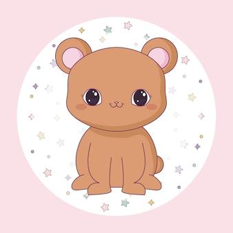 Śliczny niedźwiedź anima w okrągłej ramce