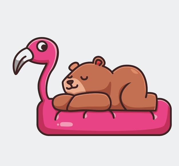 Śliczny niedźwiedź grizzly brązowy śpi na łóżku flamingo. koncepcja kreskówka natura zwierząt ilustracja na białym tle. płaski styl nadaje się do naklejki icon design premium logo vector. postać maskotki