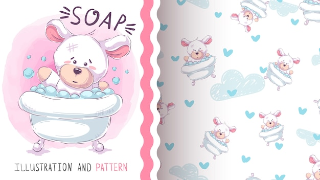 Śliczny niedźwiedź myje - bezszwowy wzór