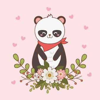 Śliczny niedźwiedź panda leśny charakter