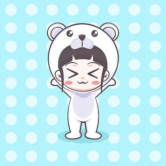 Śliczny niedźwiedź polarny kostium dziewczyna ilustracja kreskówka
