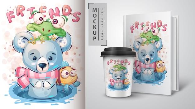 Śliczny niedźwiedź polarny plakat i merchandising