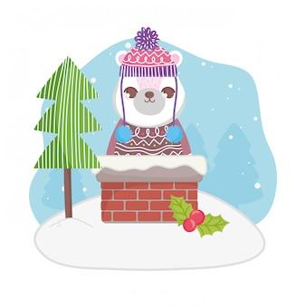 Śliczny niedźwiedź polarny w kominowych drzewnych wesoło bożych narodzeniach