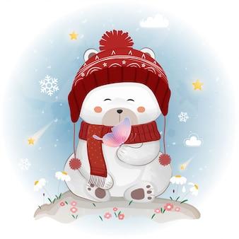 Śliczny niedźwiedź polarny w zimie.