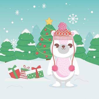 Śliczny niedźwiedź polarny z kapeluszowymi prezentami i drzewami wesoło boże narodzenia