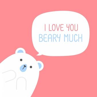 Śliczny niedźwiedź polarny z sercem mówi, że kocham cię, jesteś bardzo umiłowany, walentynki