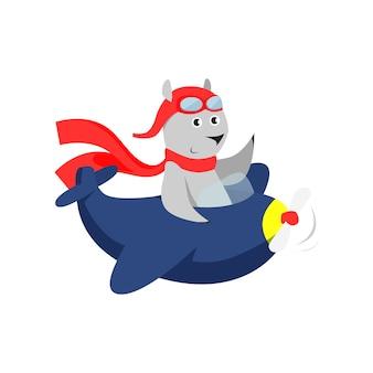 Śliczny niedźwiedź w czerwonym szalika pilotować samolot