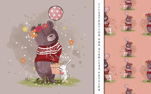 Śliczny niedźwiedź z balonową ilustracją dla dzieciaków