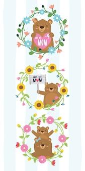 Śliczny niedźwiedzia wianku kwiatów matek dnia niedźwiedzie w kwiat ramy ilustraci
