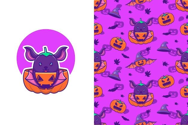 Śliczny nietoperz i dynia szczęśliwego halloween z bezszwowym wzorem
